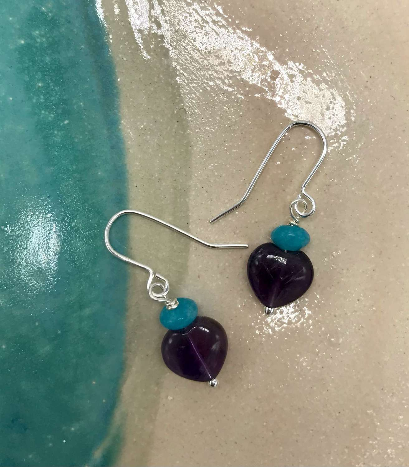 Sally earrings - amethyst/teal