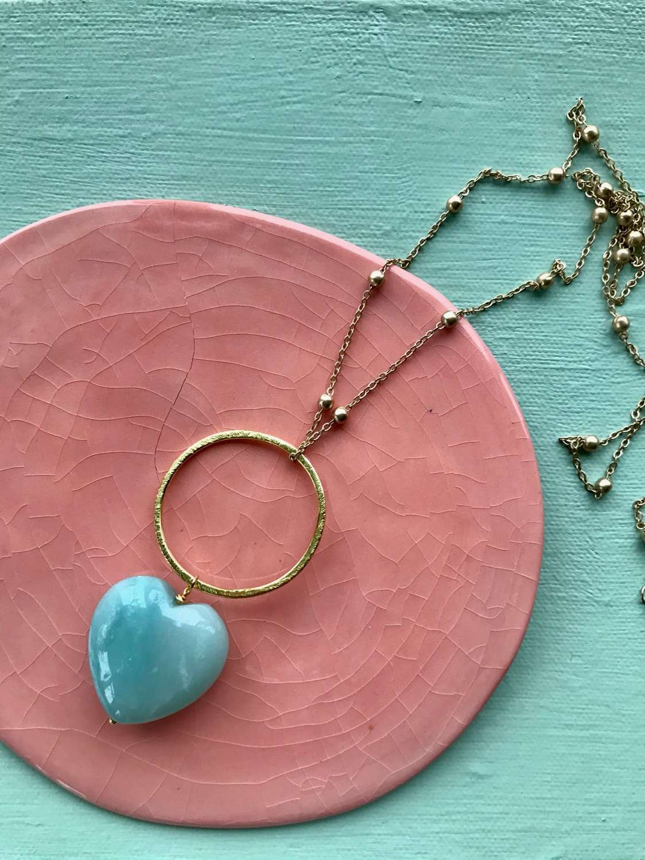 Amazonite heart on circle long pendant