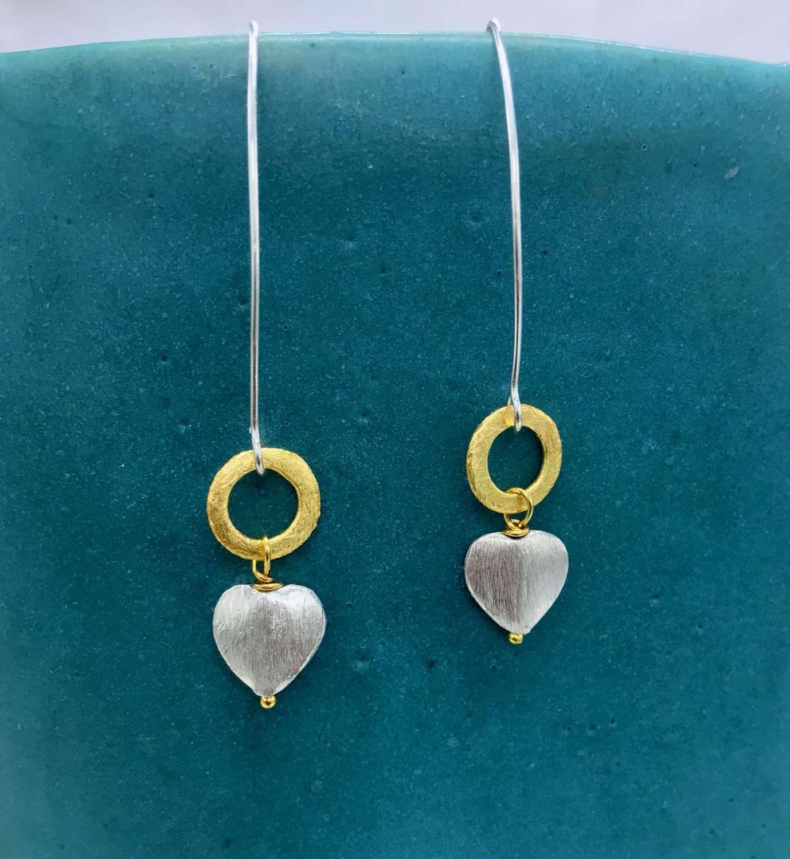 Freya long earrings - silver heart