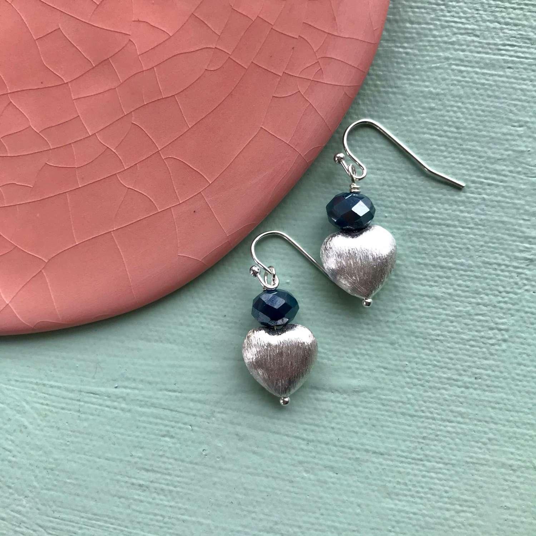 Sally earrings - blue/silver heart