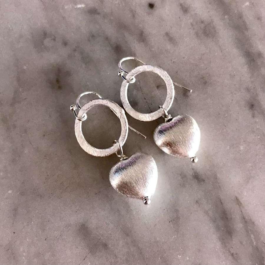 Lydia earrings - silver heart
