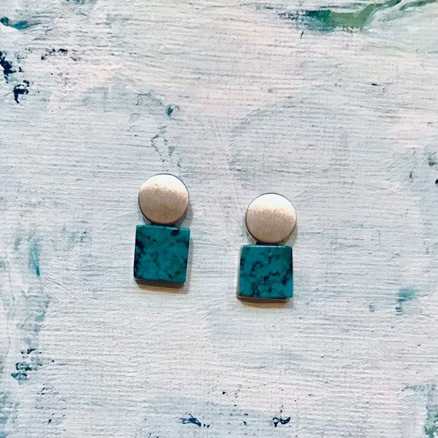 Square and circle earrings - turquoise