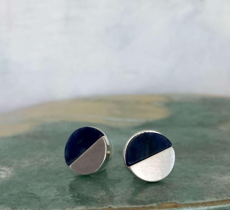 Disc earrings - navy/silver