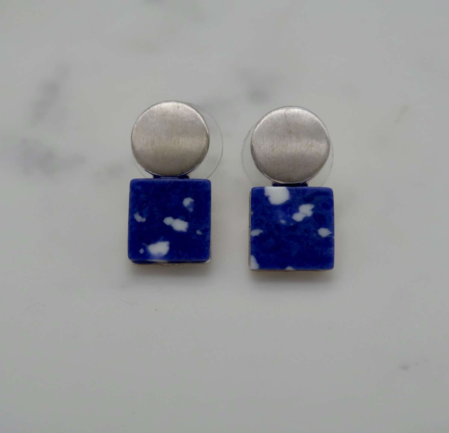 Square and circle earrings - navy