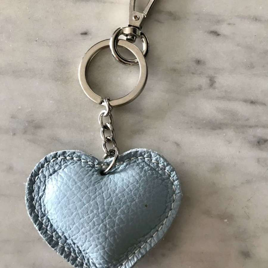 Pale blue leather heart keyring/ bag pull