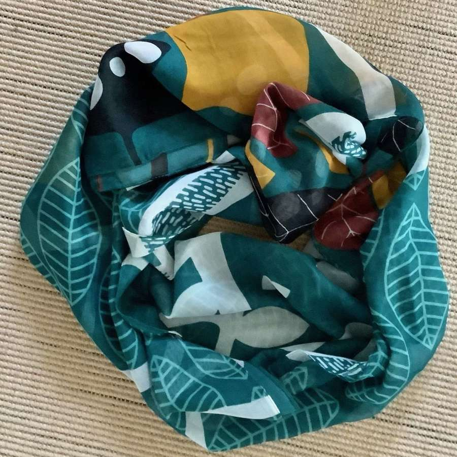 Teal leaf pattern scarf