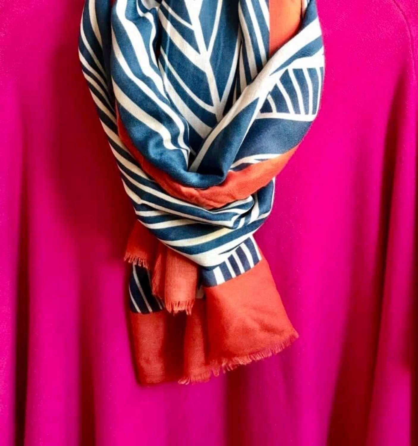 Teal/orange scarf