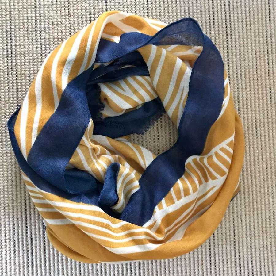 Mustard/ navy scarf