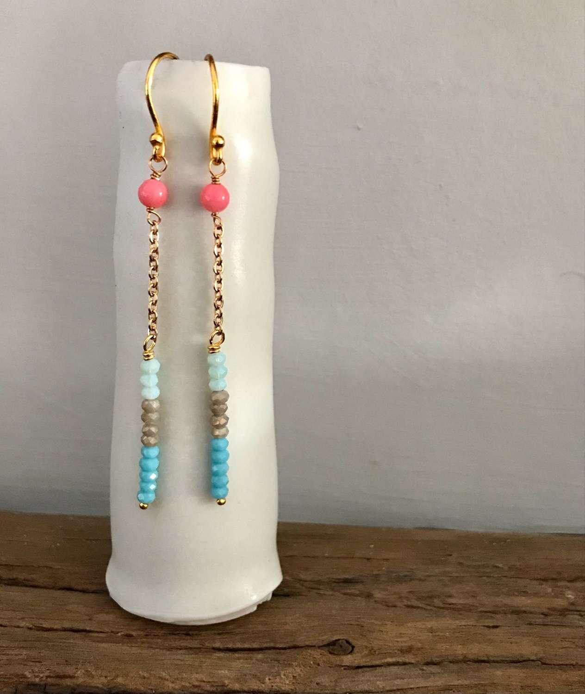 Long chain earrings  - coral/aqua