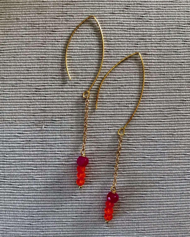 Orange/ fuchsia long drop chain earrings