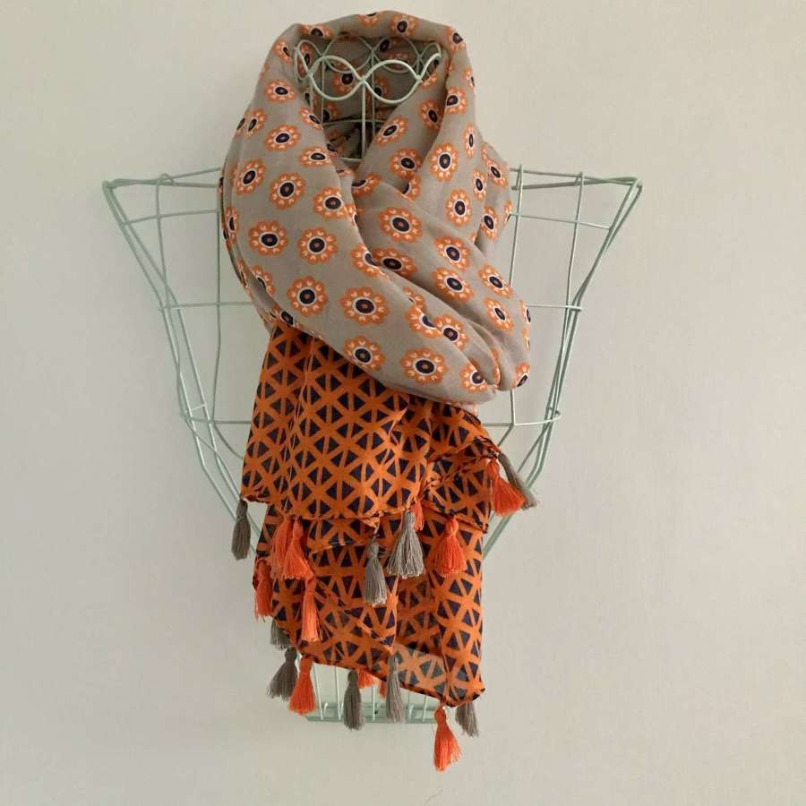 Orange/navy patterned scarf