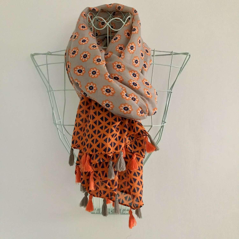 Orange/navy patterned scarf
