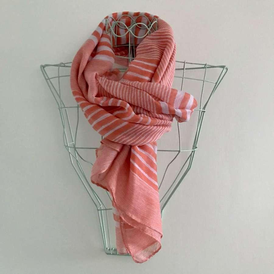 Coral stripe scarf