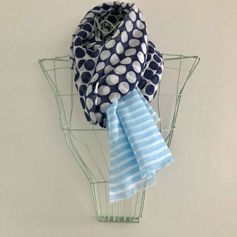 Spots and stripes scarf - navy/pale blue