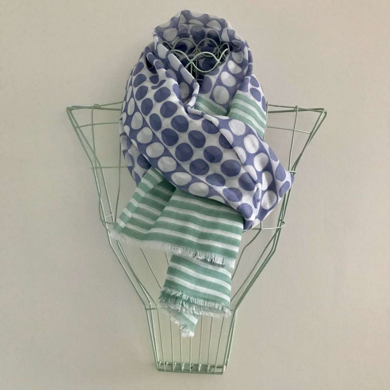 Spots and stripes scarf - blue/mint