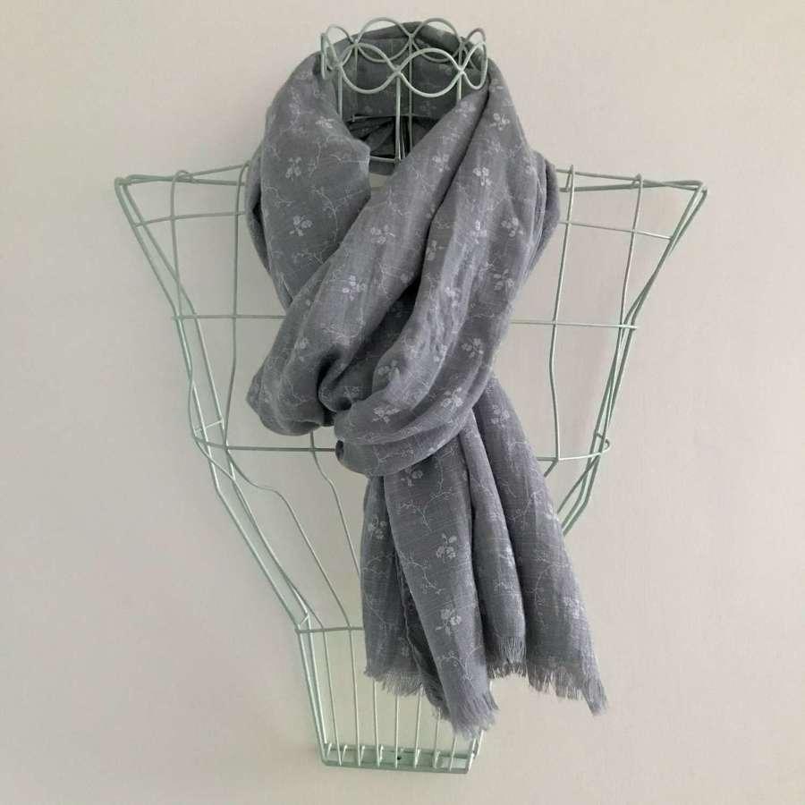 Grey leaf patterned scarf
