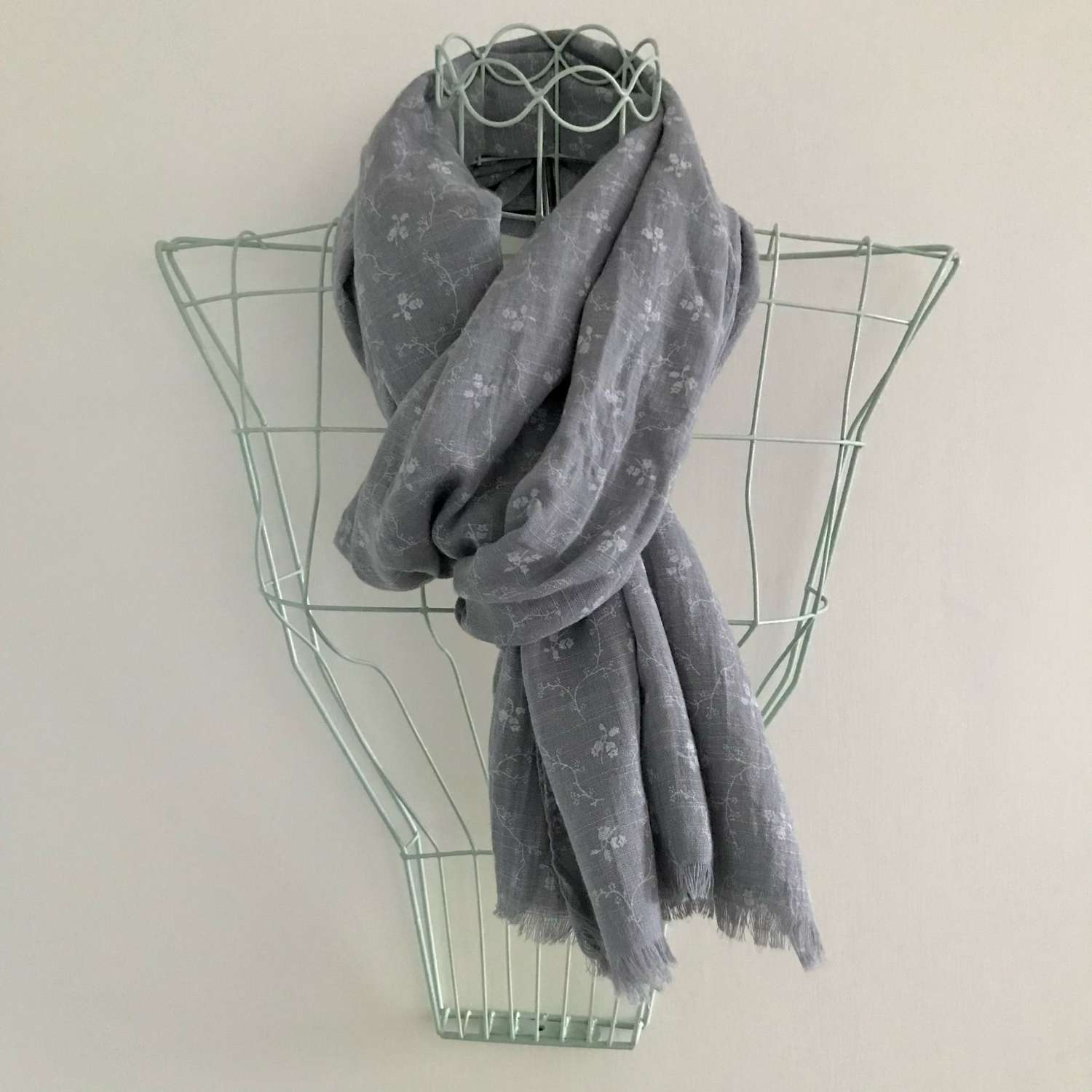 Grey leaf patterned scarf