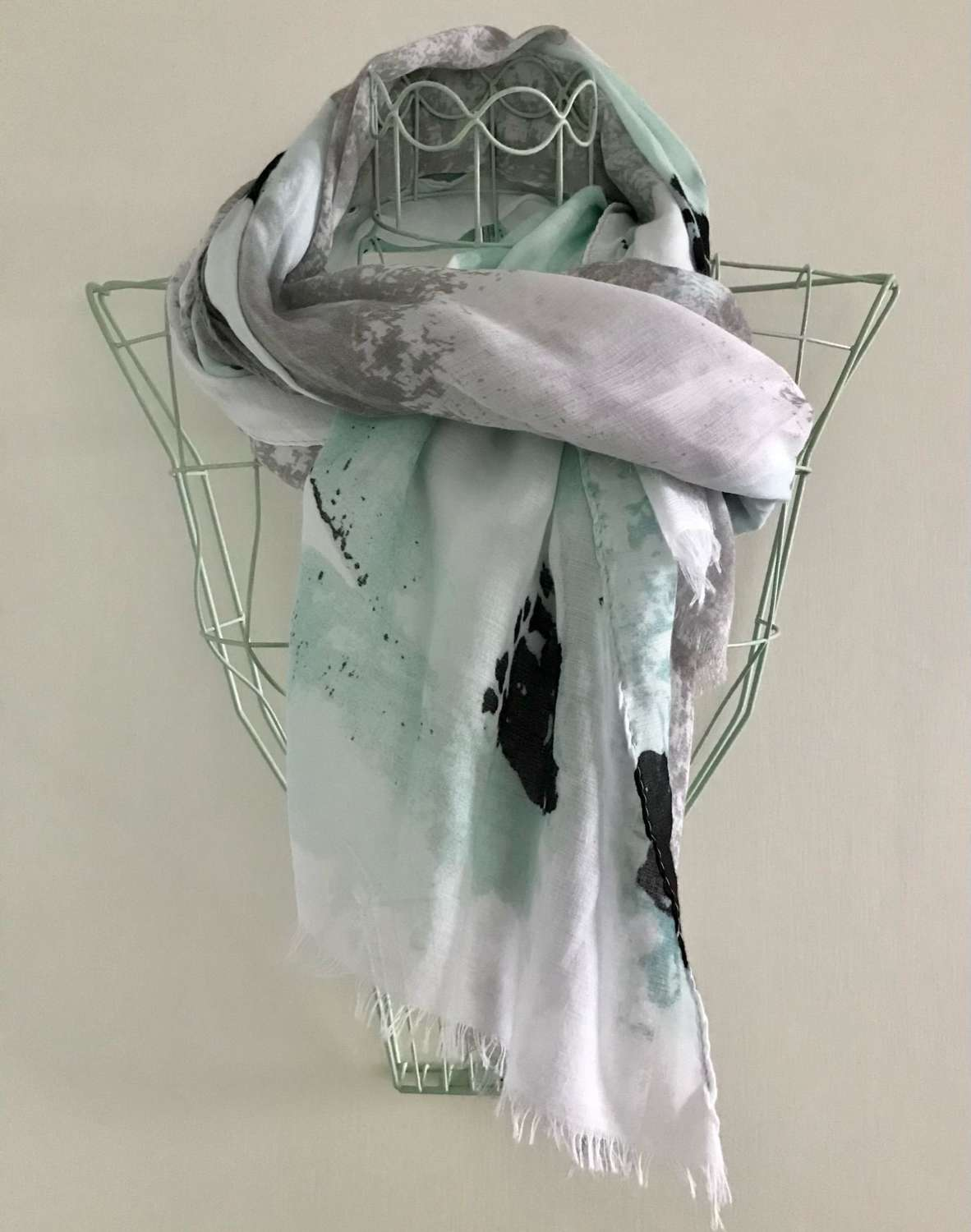 Mint and grey scarf