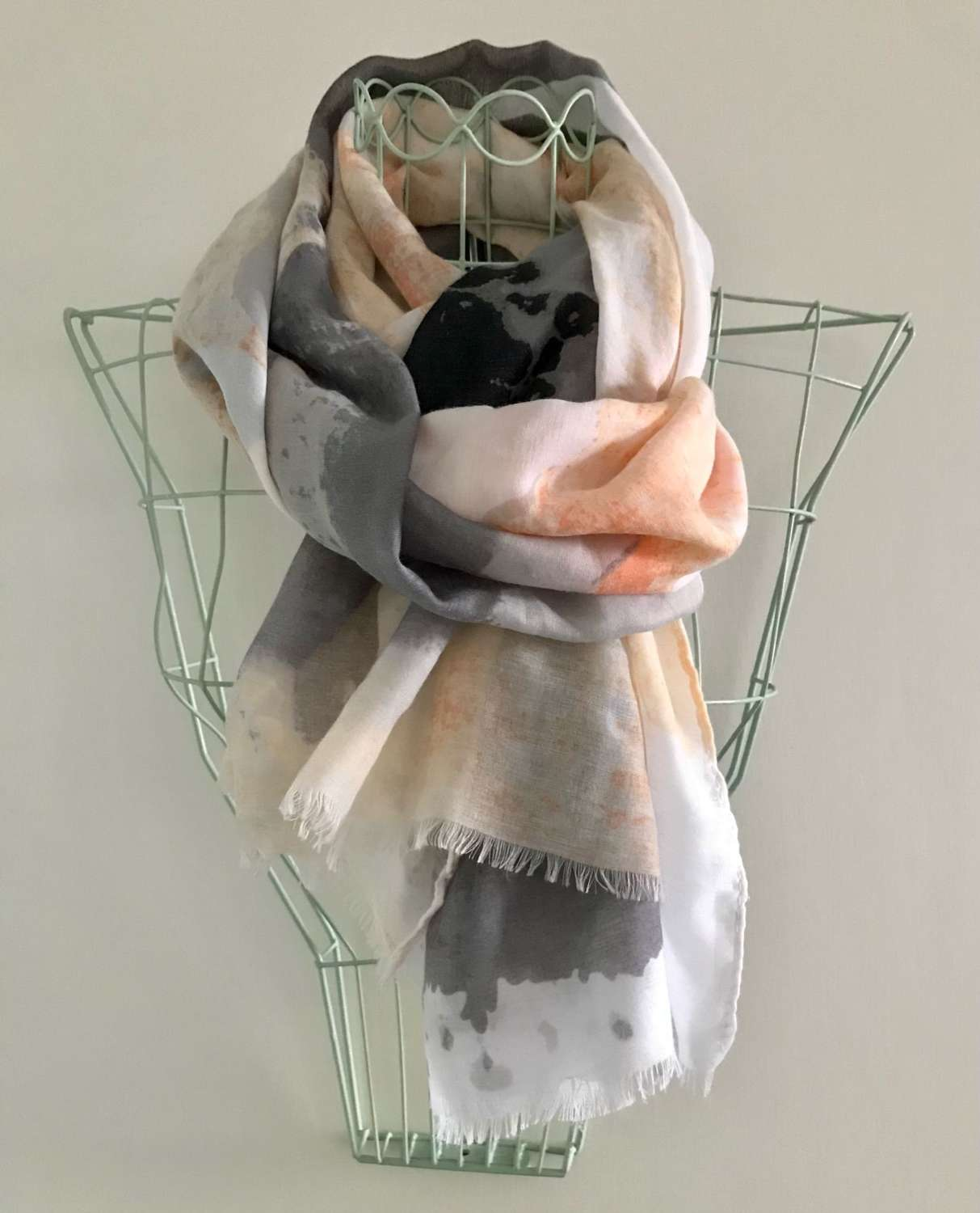 Coral and grey scarf