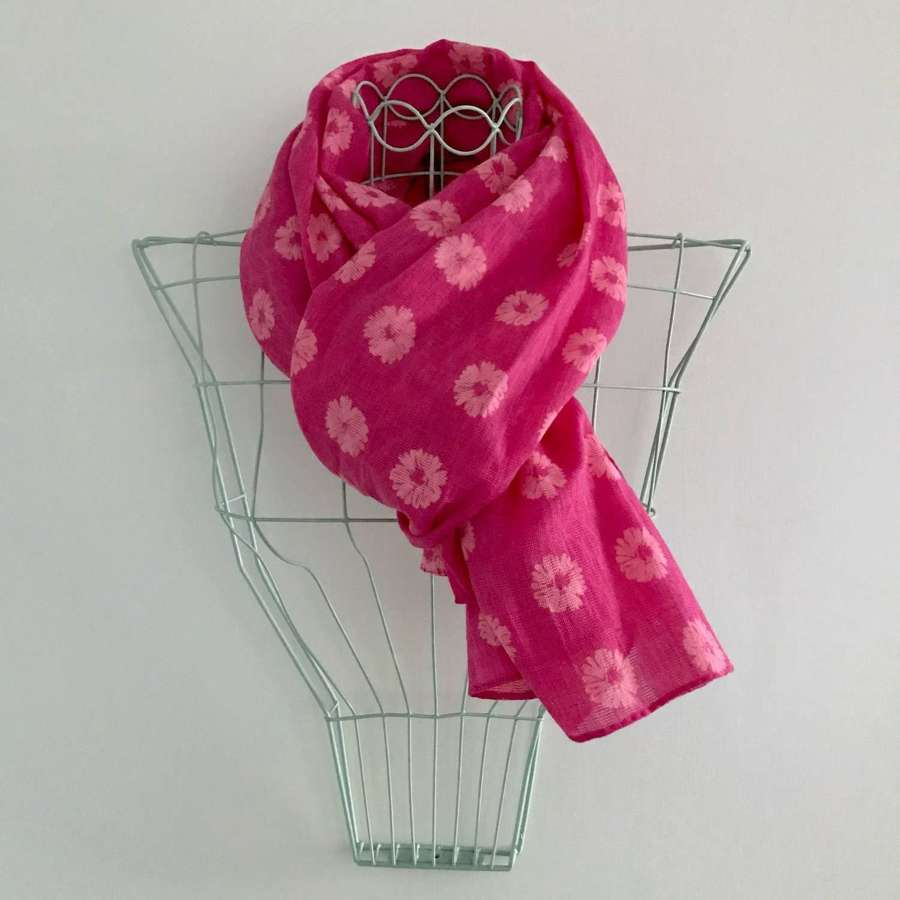 Candy pink floral scarf