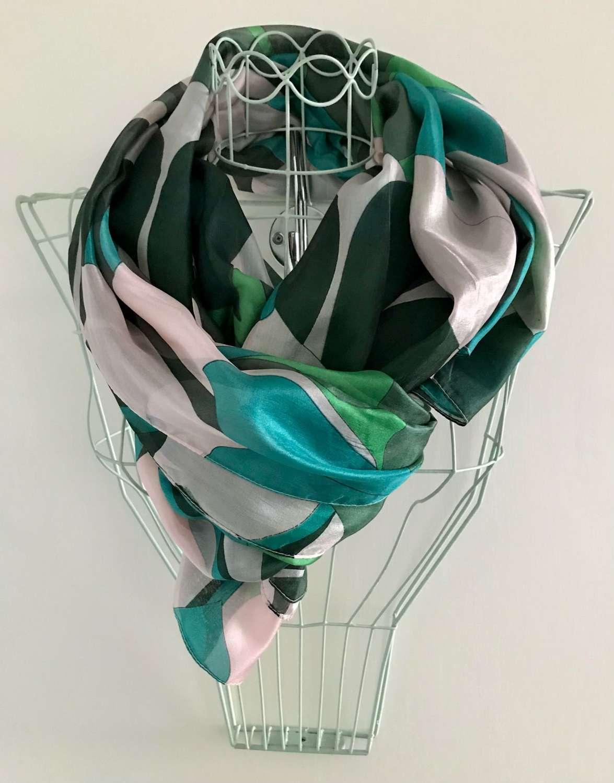 Silk scarf - teal/green