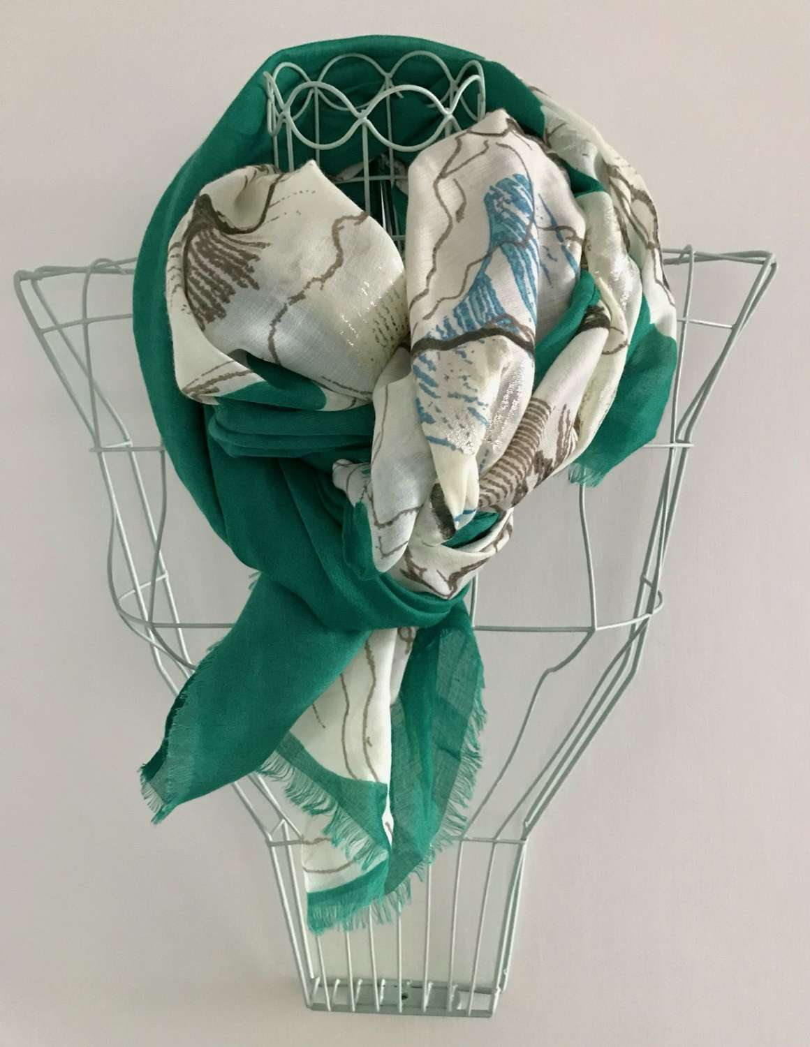 Floral scarf - green mix