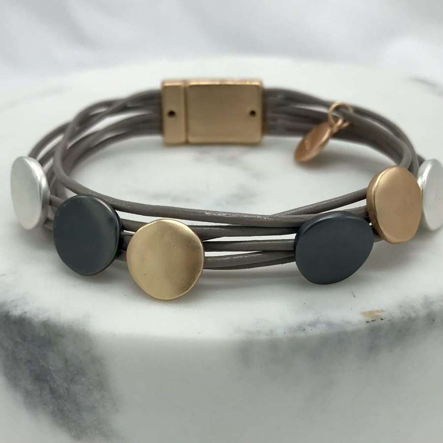Mixed metal coin leather bracelet