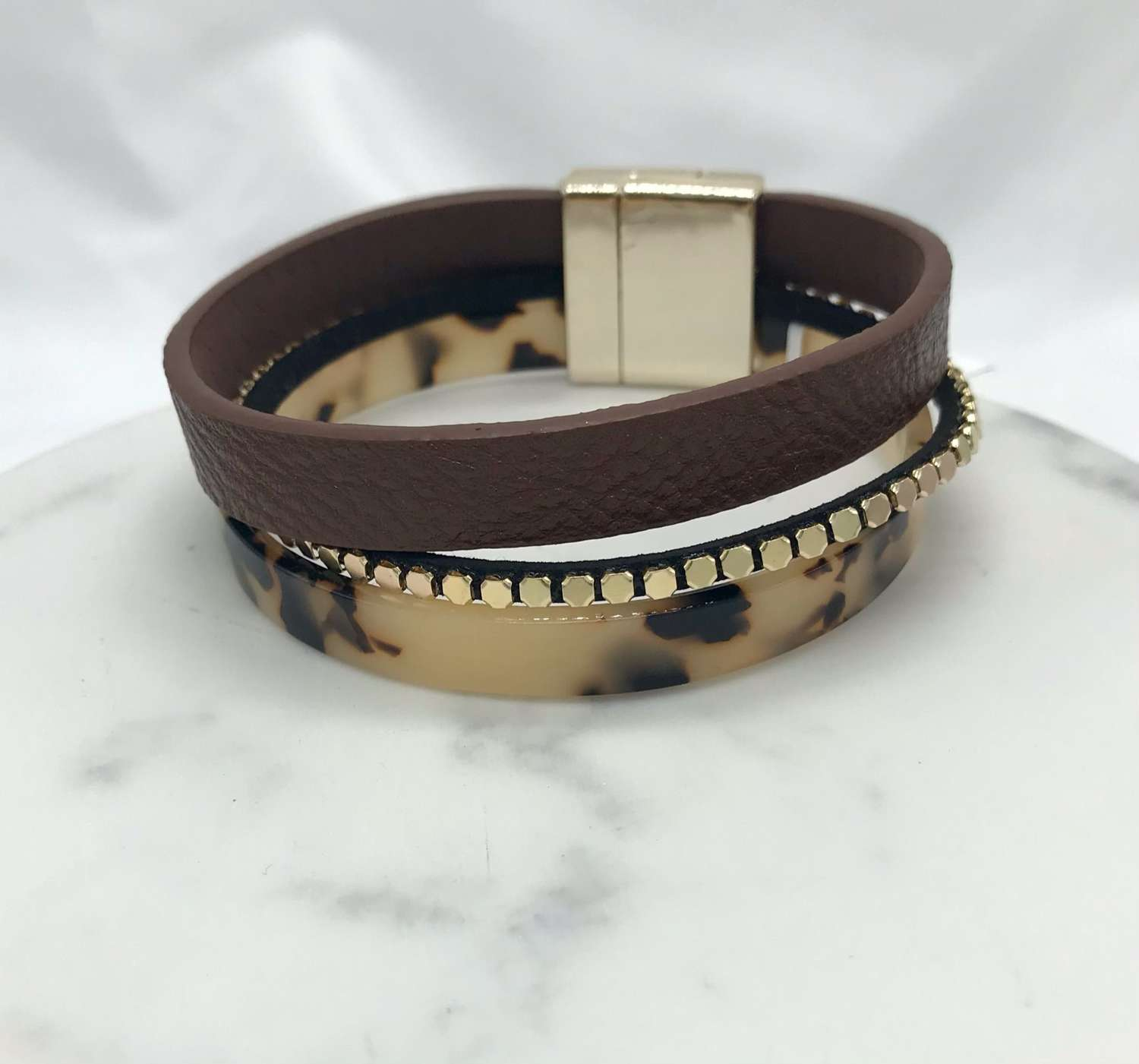 Animal print and leather magnetic bracelet