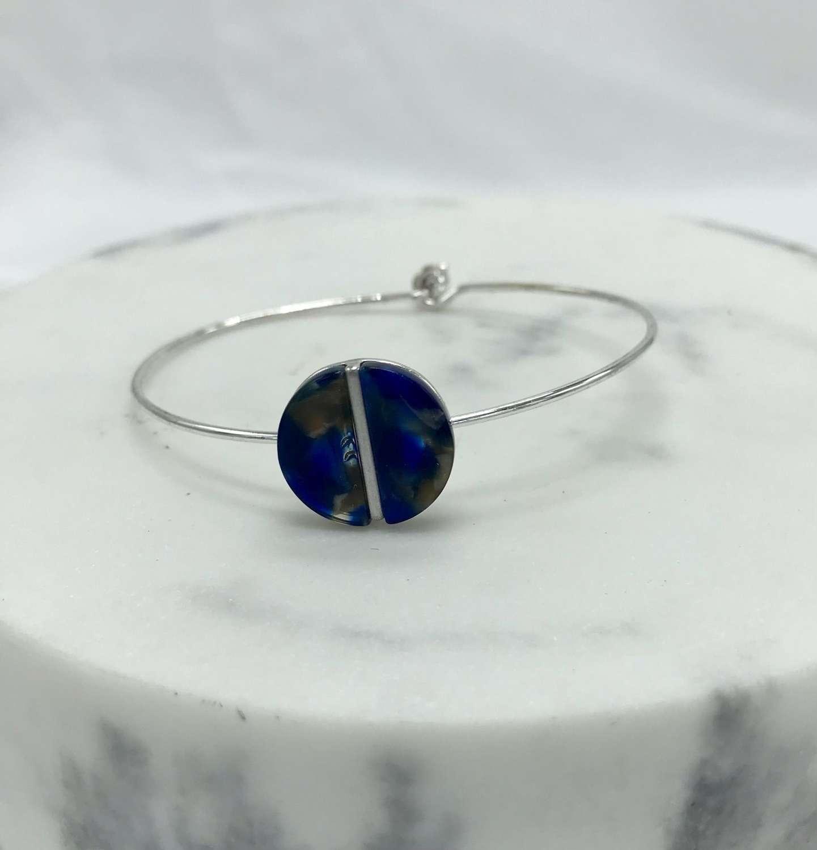 Resin disc bracelet - blue