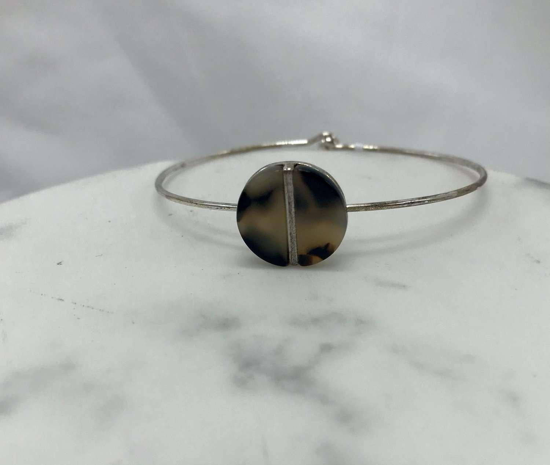Resin disc bracelet - brown animal print