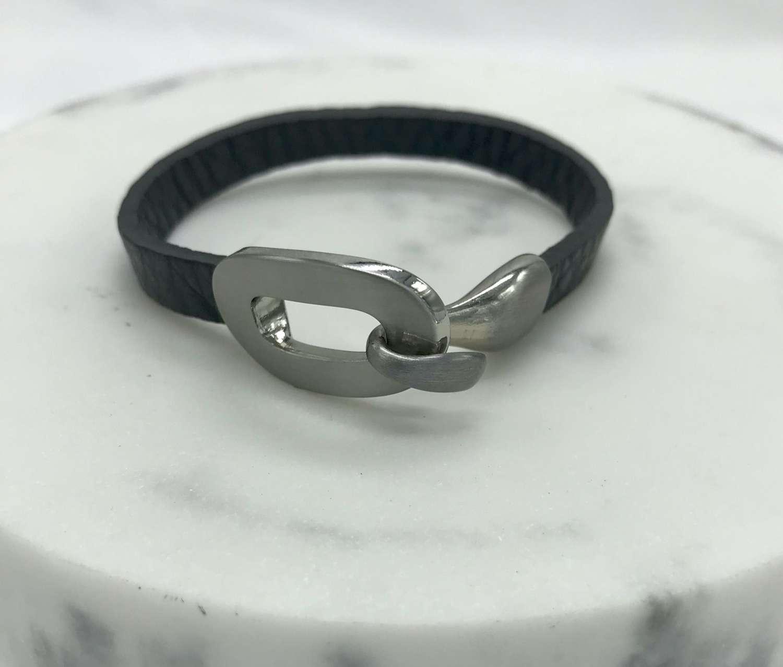 Leather buckle bracelet   - grey/silver