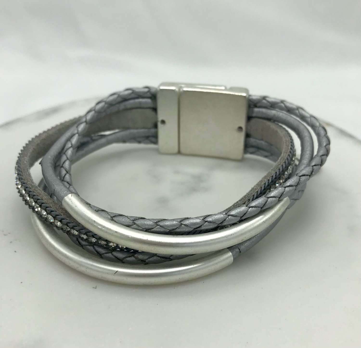 Multi strand silver/grey leather bracelet
