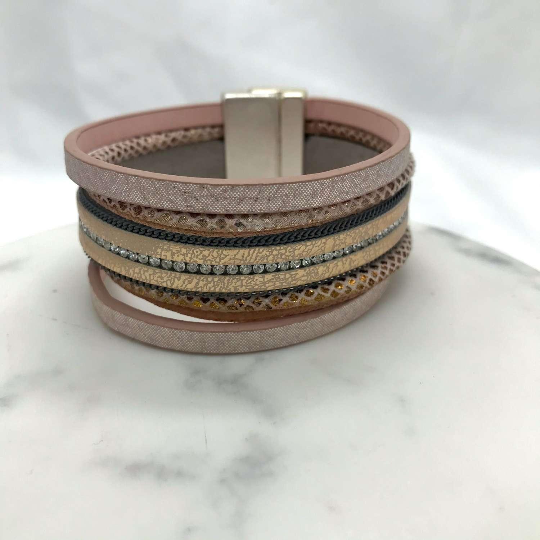 Blush magnetic wrap bracelet