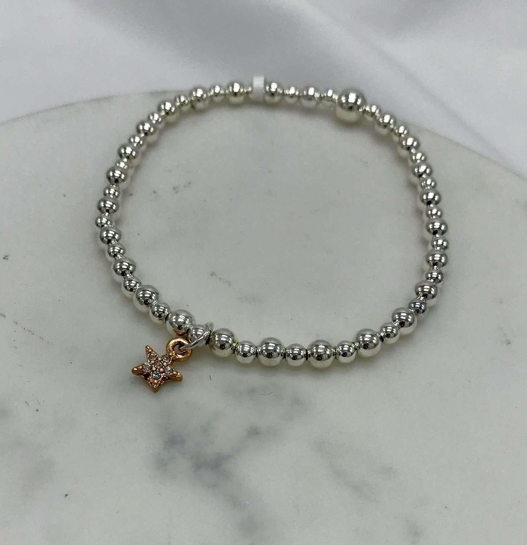 Rose gold diamanté star bracelet