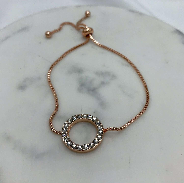 Diamante circle friendship bracelet - rose gold