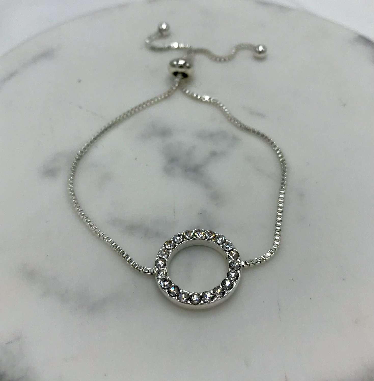 Diamante circle friendship bracelet - silver