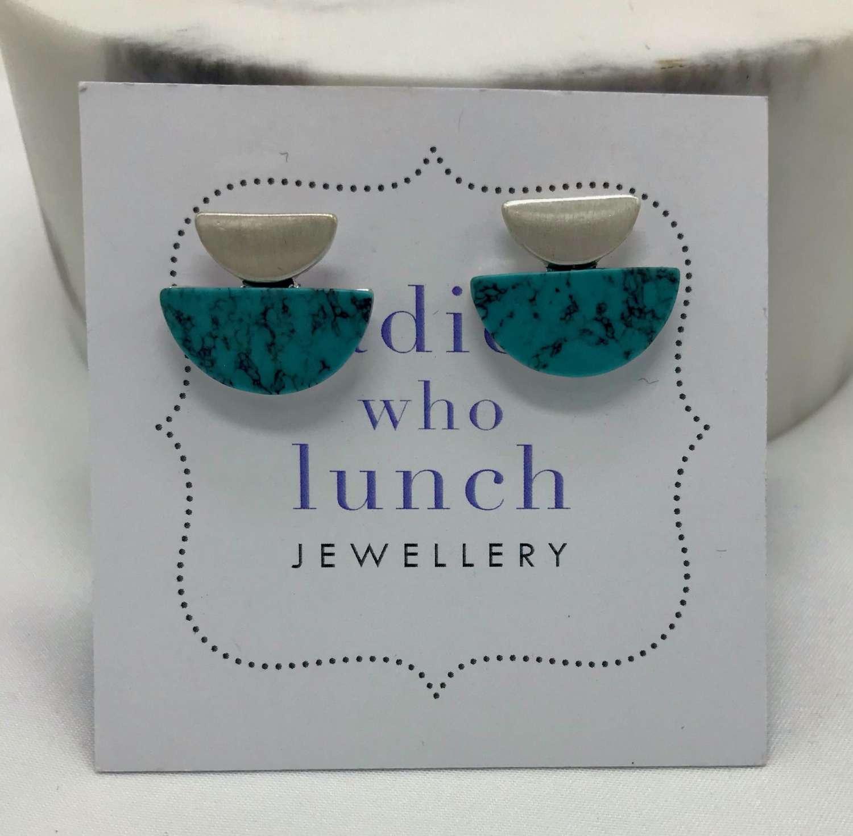 Semi circle earrings - turquoise