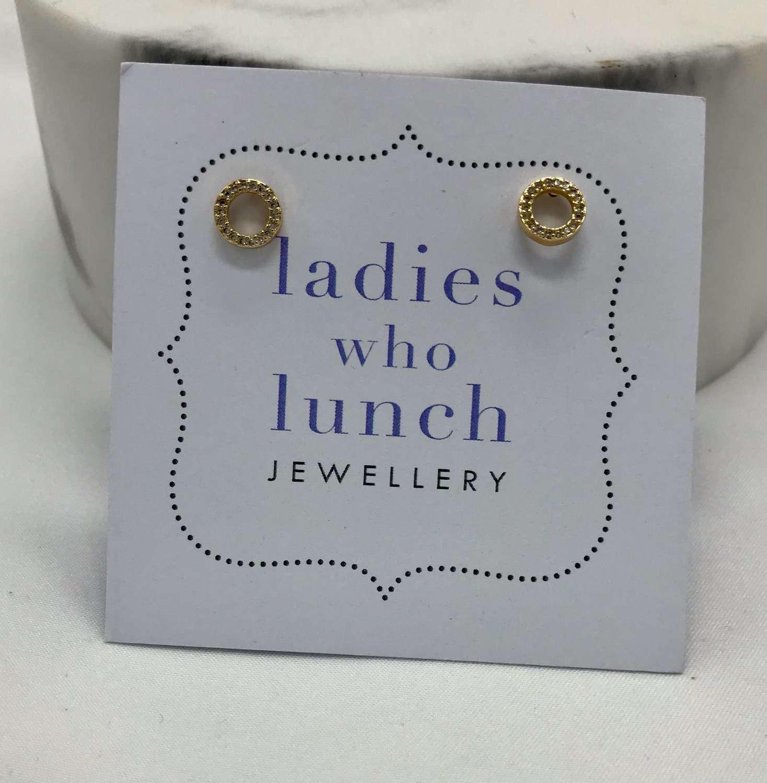 Diamanté tiny circle earrings - gold