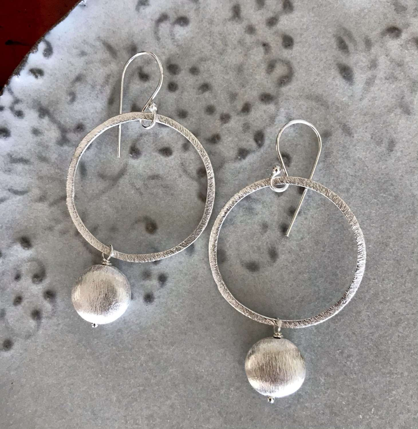 X large Lydia earrings - silver nugget