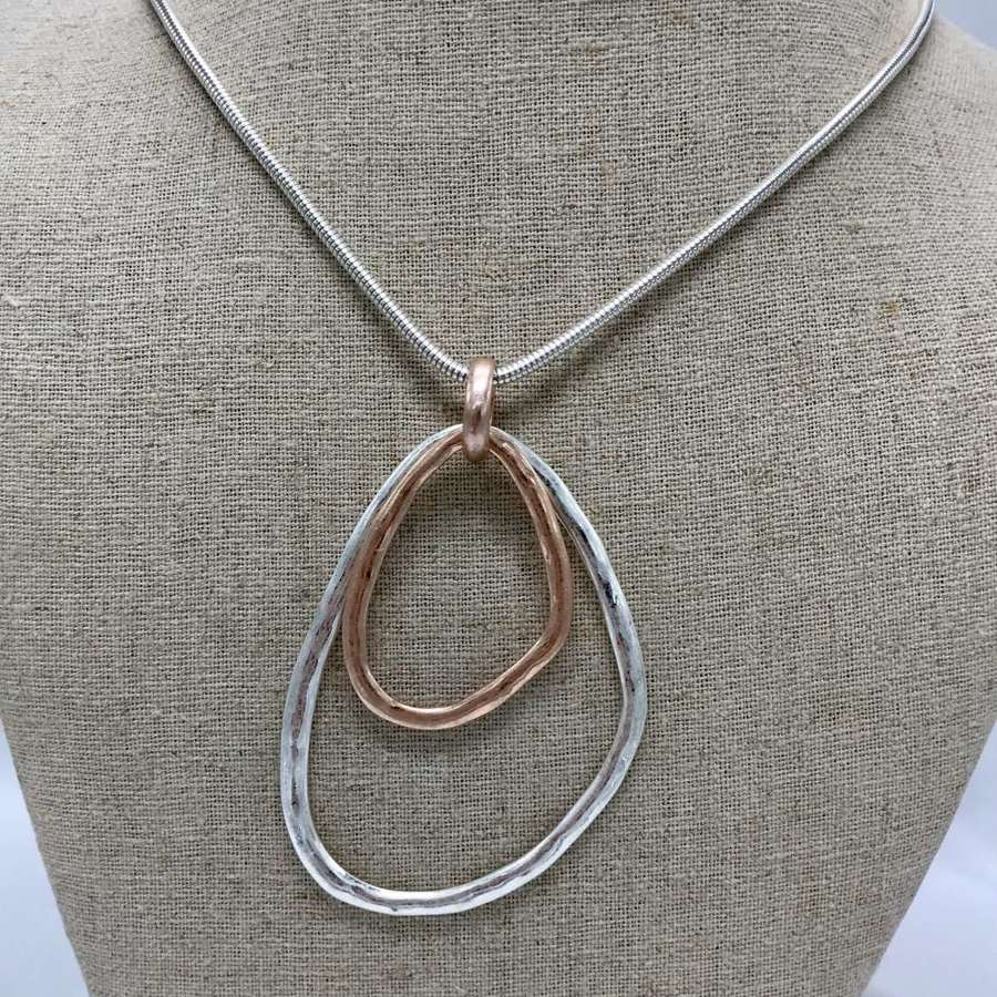Squiffy necklace - silver and rose gold