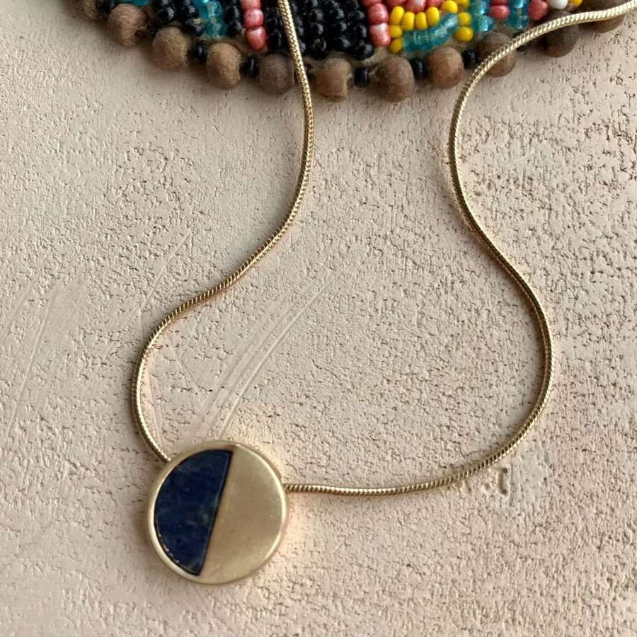 Small demi necklace - navy/gold