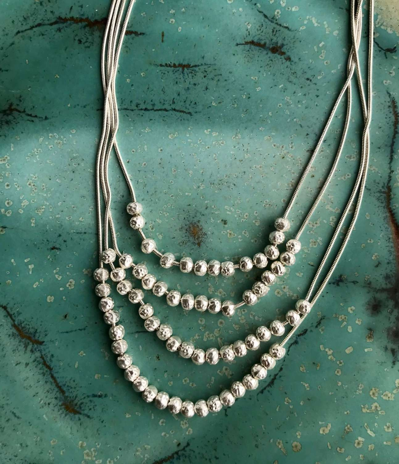 Layered silver ball necklace