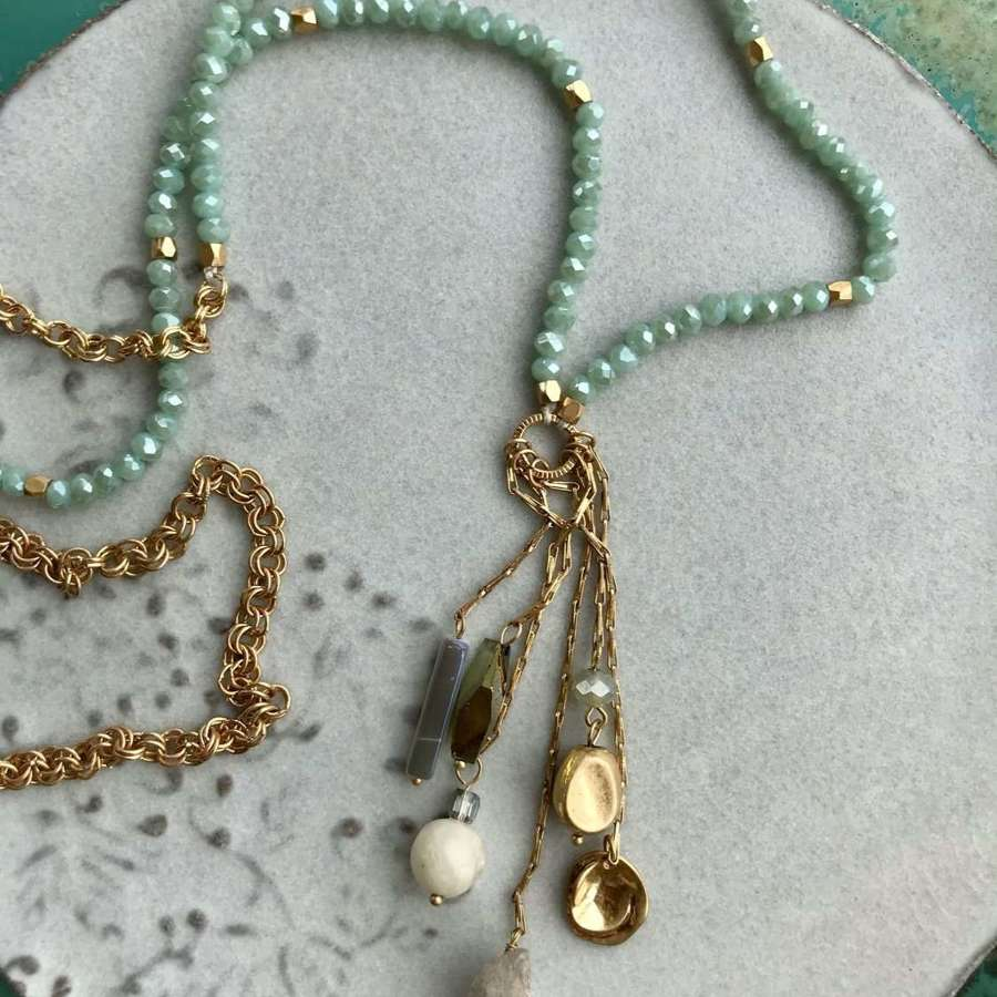 Long charm necklace - duck egg/gold