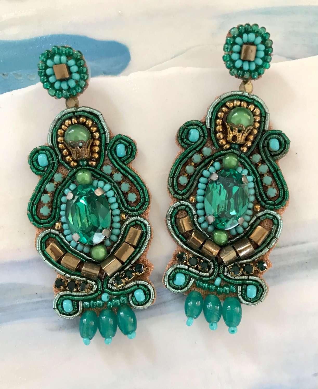 Green ornate chandelier earrings