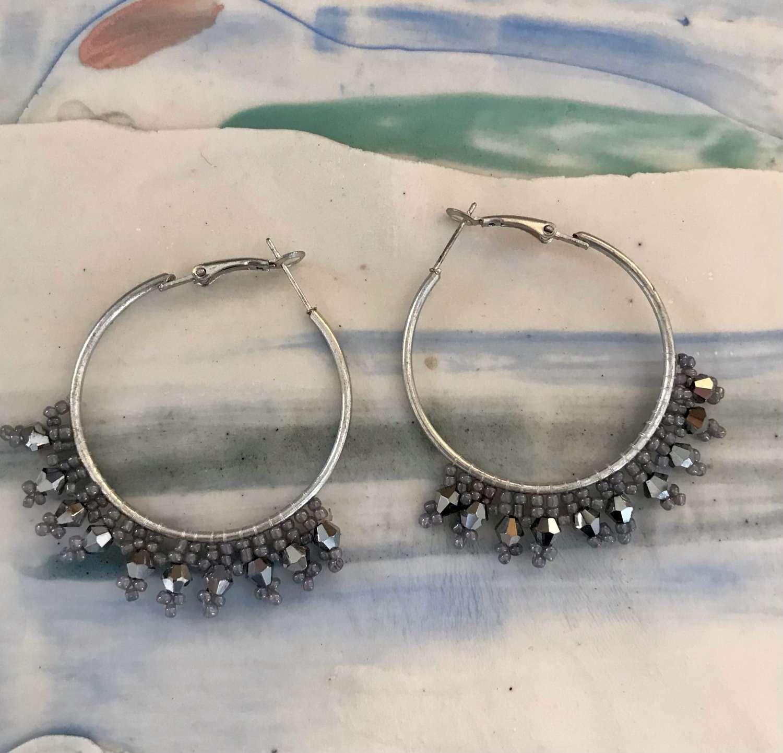 Silver hoop beaded earrings
