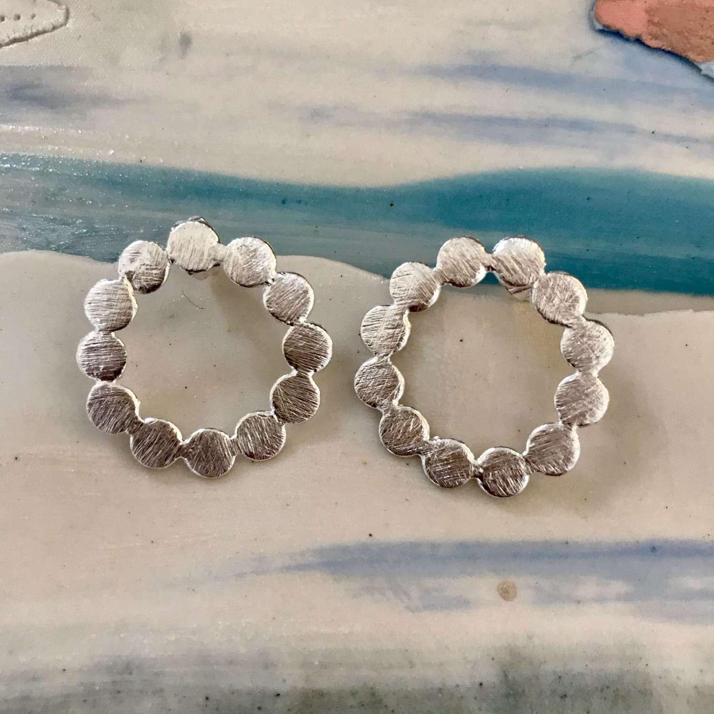 Silver bubble circle stud earrings