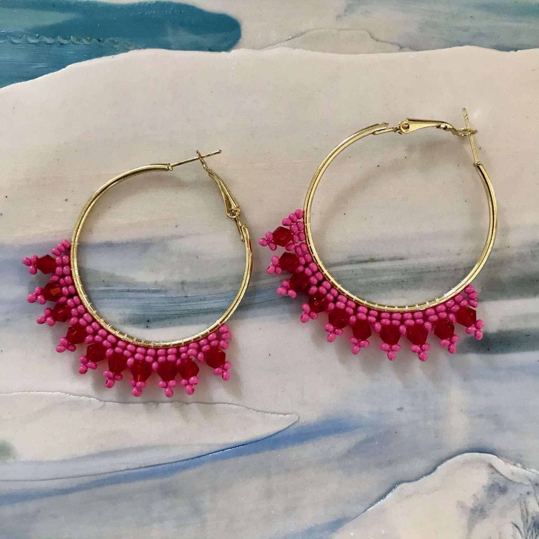 Pink and red beaded hoop earrings