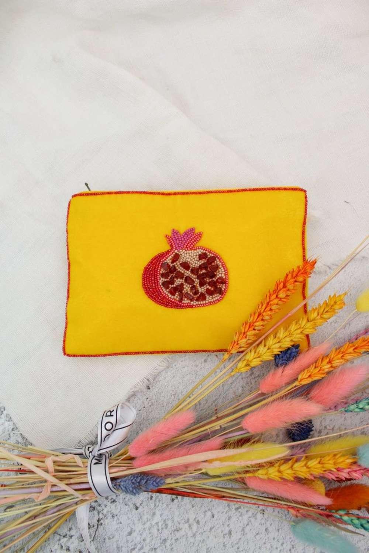 Yellow velvet pomegranate purse