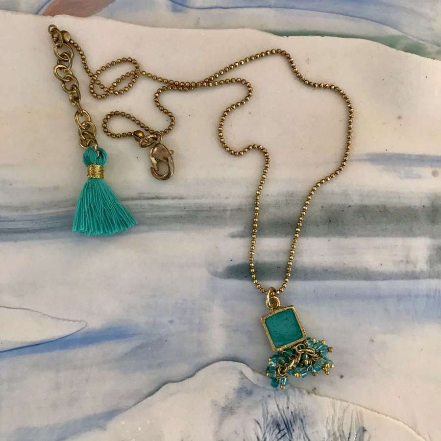 Turquoise square cluster necklace