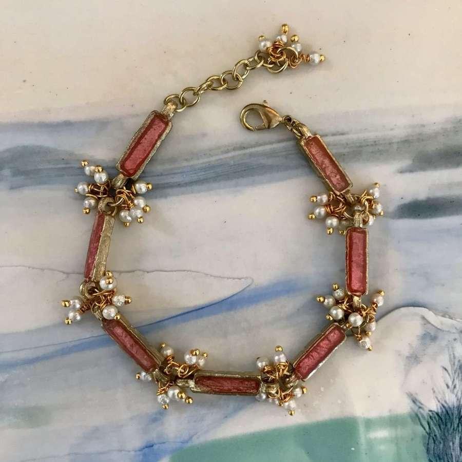 Blush enamel and pearl cluster bracelet